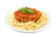 Espaguete bolonhês no branco Fotos de Stock Royalty Free