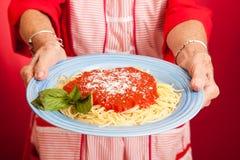 Espaguete caseiro das mamãs fotografia de stock