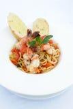 Espaguete com alimento de mar Imagens de Stock Royalty Free