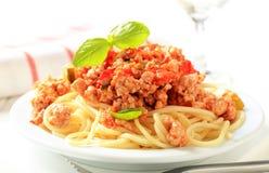 Espaguete com carne triturada Foto de Stock Royalty Free