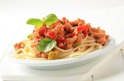Espaguete com carne triturada Fotografia de Stock Royalty Free