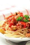 Espaguete com carne triturada Fotos de Stock