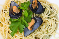 Espaguete com close up dos mexilhões Foto de Stock