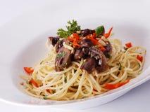 Espaguete com cogumelos Fotos de Stock Royalty Free
