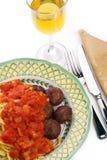 Espaguete com esferas de carne Imagem de Stock