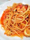 Espaguete com marisco Fotos de Stock Royalty Free