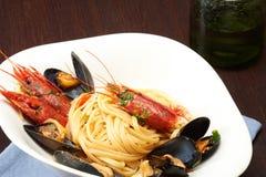 Espaguete com marisco Fotografia de Stock