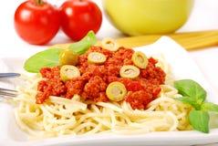 Espaguete com molho de tomate Fotografia de Stock