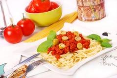 Espaguete com molho de tomate Foto de Stock Royalty Free