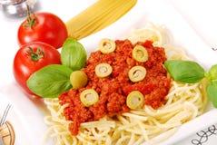 Espaguete com molho de tomate Fotos de Stock
