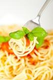 Espaguete com molho de tomate Fotos de Stock Royalty Free