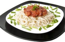 Espaguete com molho de tomate Foto de Stock
