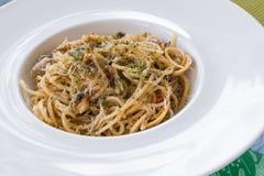 Espaguete com moluscos Imagem de Stock