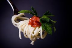 Espaguete com o grawy no close-up da forquilha Fotografia de Stock Royalty Free