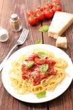 Espaguete com tomate fotografia de stock