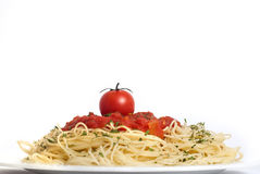 Espaguete com tomates Foto de Stock Royalty Free