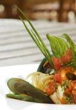 Espaguete da ostra e do alimento de mar Foto de Stock Royalty Free