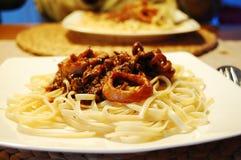 Espaguete do alimento de mar imagem de stock