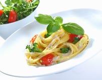 Espaguete e bróculos Foto de Stock