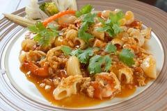 Espaguete e camarão tailandeses Imagem de Stock