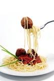 Espaguete e Meatballs Fotografia de Stock