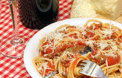 Espaguete e molho Foto de Stock