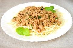 Espaguete e o molho de feijões da soja fotografia de stock royalty free
