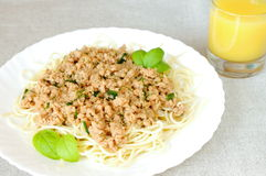 Espaguete e o molho de feijões da soja fotos de stock royalty free