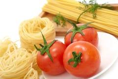 Espaguete e tomate Foto de Stock