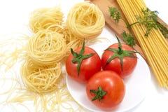Espaguete e tomate Imagem de Stock