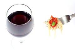 Espaguete e vinho Imagem de Stock