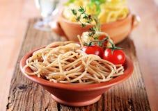 Espaguete inteiro do trigo Foto de Stock