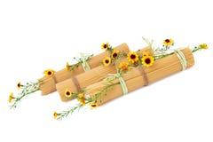 Espaguete italiano decorado com as flores isoladas Fotografia de Stock Royalty Free