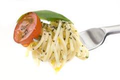 Espaguete na forquilha Imagens de Stock