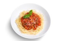 Espaguete no fundo branco Foto de Stock