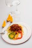 Espaguetes Bolonhês com Peper doce Fotos de Stock