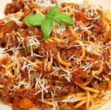Espaguetes Bolonhês com queijo parmesão Fotografia de Stock