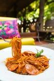 Espaguetes bolonhês da salsicha Foto de Stock Royalty Free