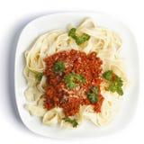 Espaguetes bolonhês na placa branca Fotografia de Stock Royalty Free