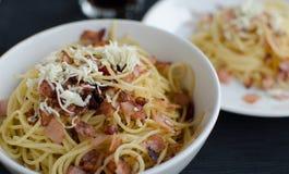 Espaguetes Carbonara Fotografia de Stock
