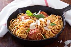 Espaguetes com almôndegas do peru fotografia de stock royalty free