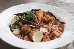 Espaguetes com camarão picante Imagens de Stock