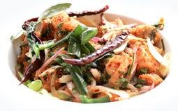 Espaguetes com camarão picante Fotos de Stock Royalty Free