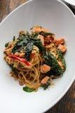 Espaguetes com camarão picante Imagens de Stock Royalty Free