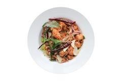 Espaguetes com camarão picante Foto de Stock Royalty Free