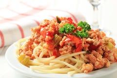 Espaguetes com carne triturada Imagens de Stock