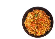 Espaguetes com cogumelo e carne triturada em uma frigideira Vista superior Isolado Foto de Stock Royalty Free