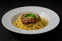 Espaguetes com molho bolonhês Fotos de Stock Royalty Free