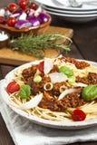 Espaguetes com molho da carne Imagem de Stock Royalty Free