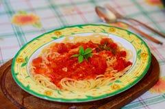 Espaguetes com molho de tomate Fotografia de Stock Royalty Free